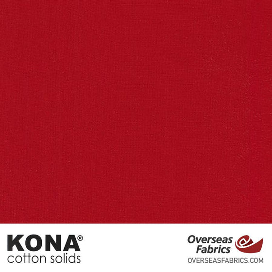 "Kona Cotton Solids Rich Red - 44"" wide - Robert Kaufman quilting fabric"