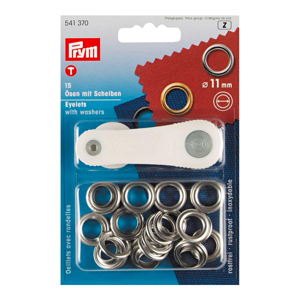 Prym - Eyelets with Washer, Silver, 11mm