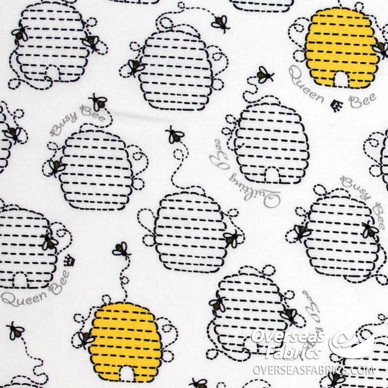 QT Fabrics - All the Buzz, Beehives, White