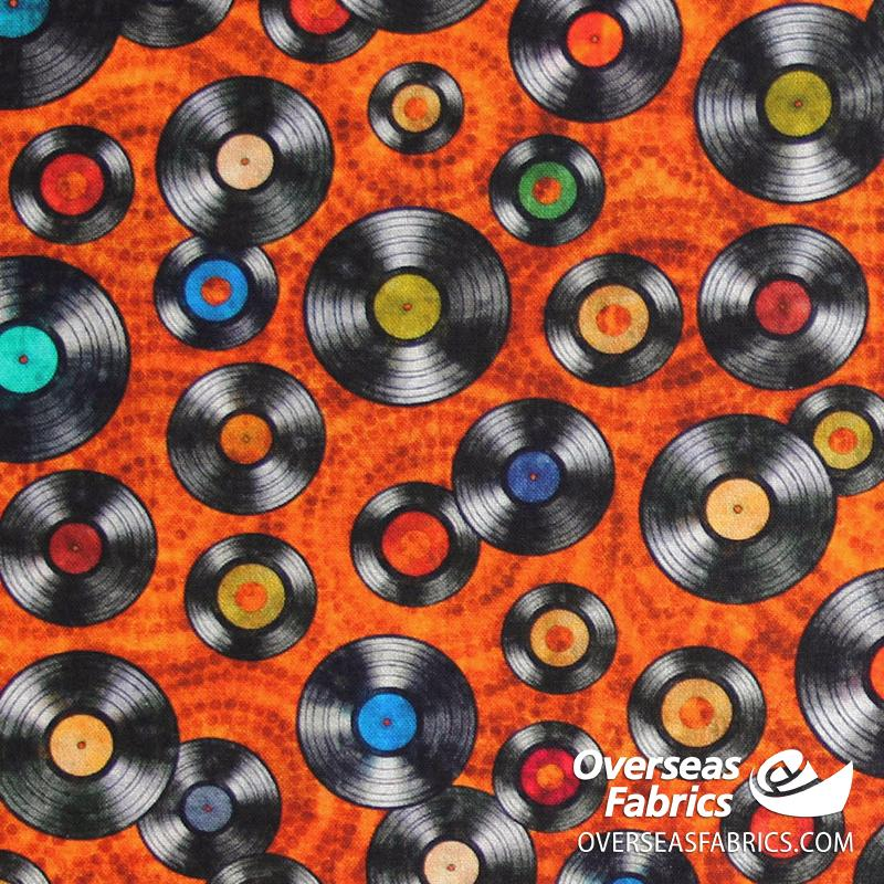 QT Fabrics - Good Vibrations, Vinyl, Rust