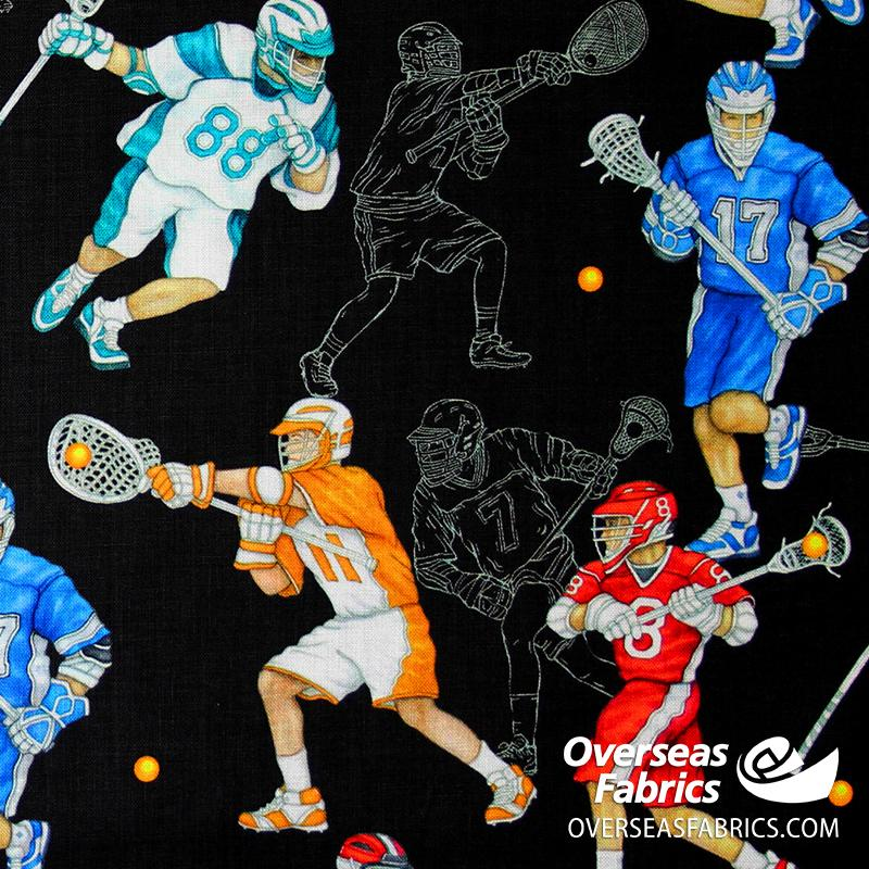 QT Fabrics - Stick With It, Lacrosse, Black