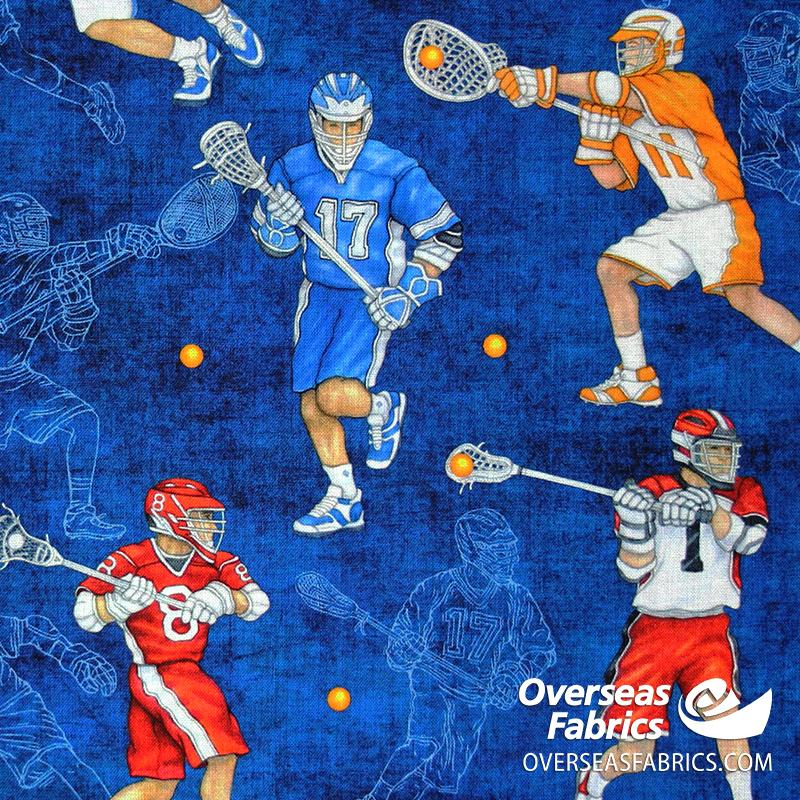 QT Fabrics - Stick With It, Lacrosse, Blue
