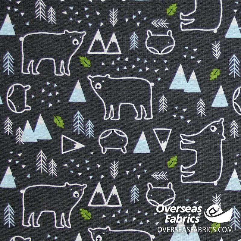 Riley Blake - In the Forest, Bear, Grey