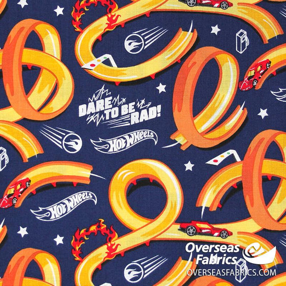 Riley Blake - Hot Wheels, Tracks, Blue