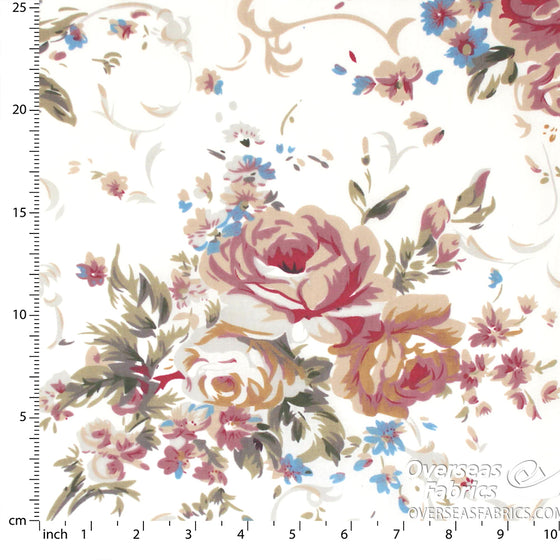 "Sheeting Poly-Cotton 90"" - Roses, White"