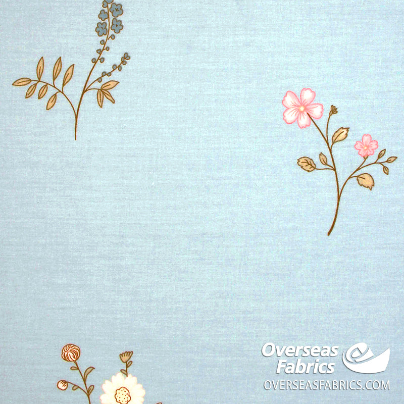 100% Sheeting Cotton - Floral, Blue