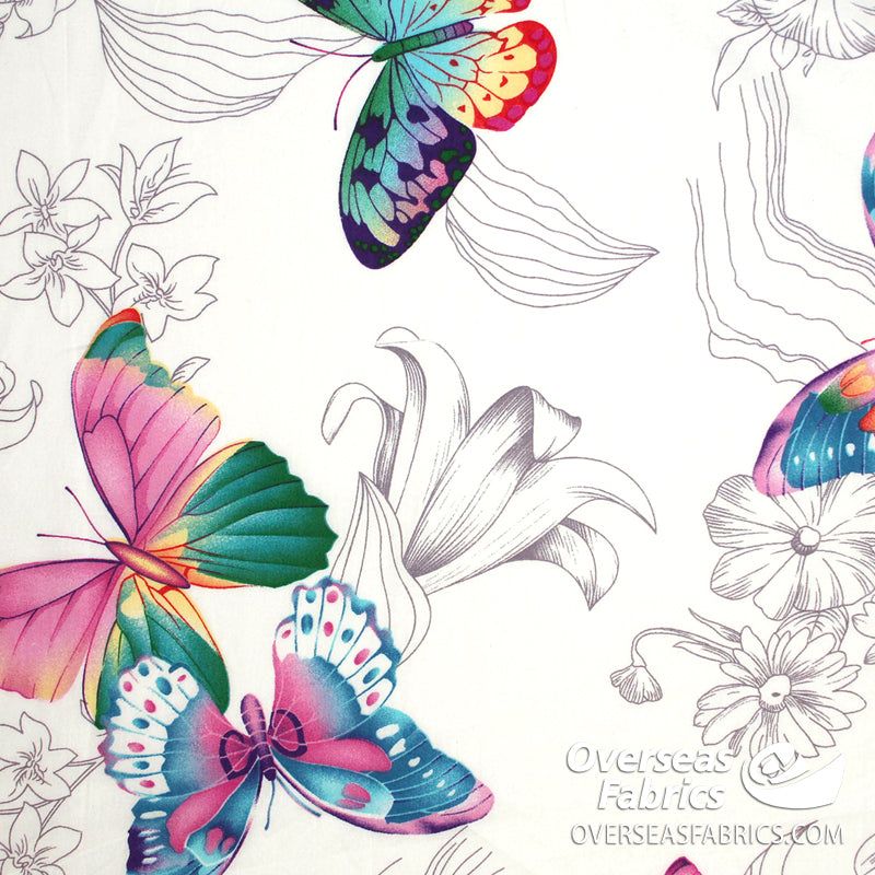 100% Sheeting Cotton - Large Butterfly, White
