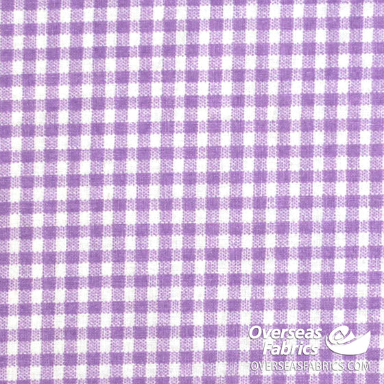 100% Sheeting Cotton - Gingham, Purple