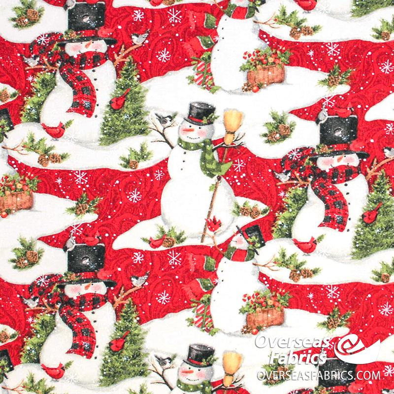 Susan Winglet - Christmas, Snowman Scenic, Red