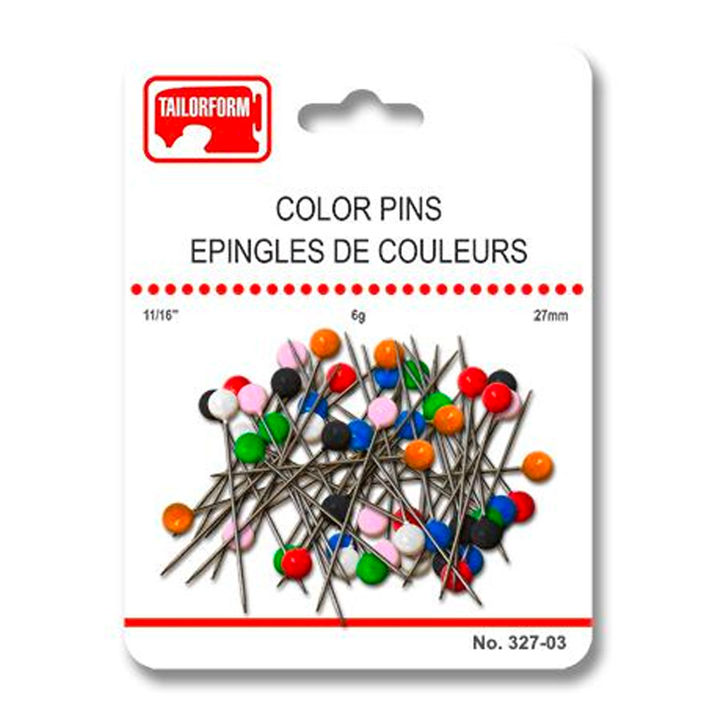Tailorform - Ball Head Straight Pins, 27mm, Multi-Color