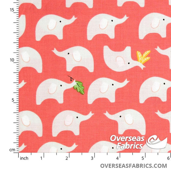 Windham Fabrics - Ellie, Baby Elephants, Coral
