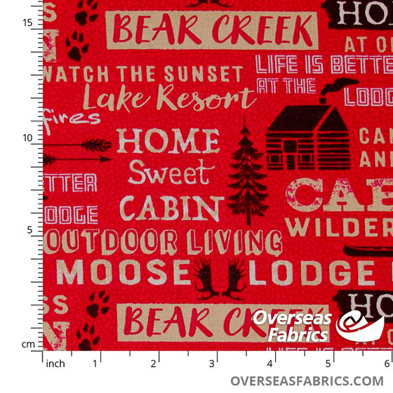 Windham Fabrics - Home Sweet Cabin, Words, Red