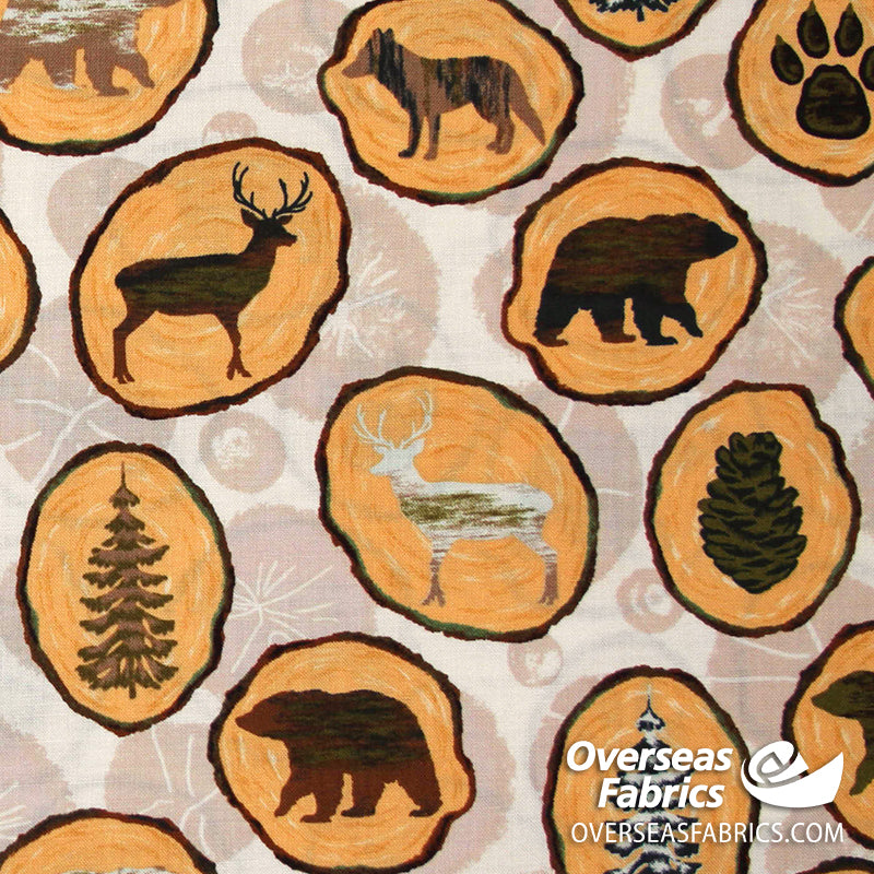 Windham Fabrics - Home Sweet Cabin, Animals, Cream