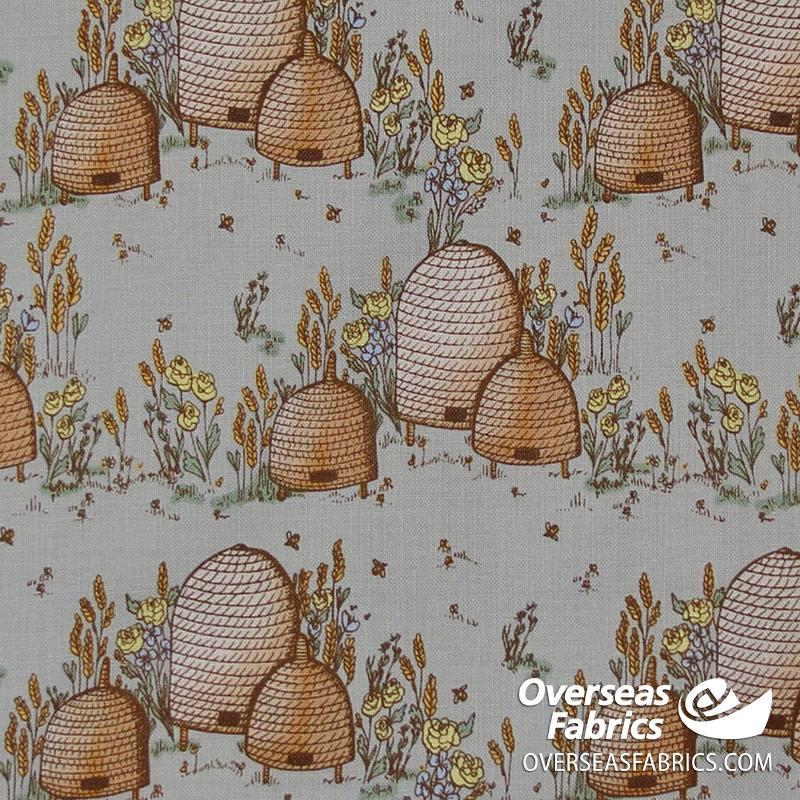 Windham Fabrics - Tell the Bees, Beehives, Grey