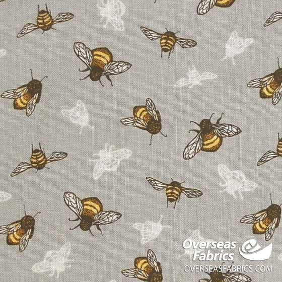 Windham Fabrics - Tell the Bees, The Bumblebee, Grey