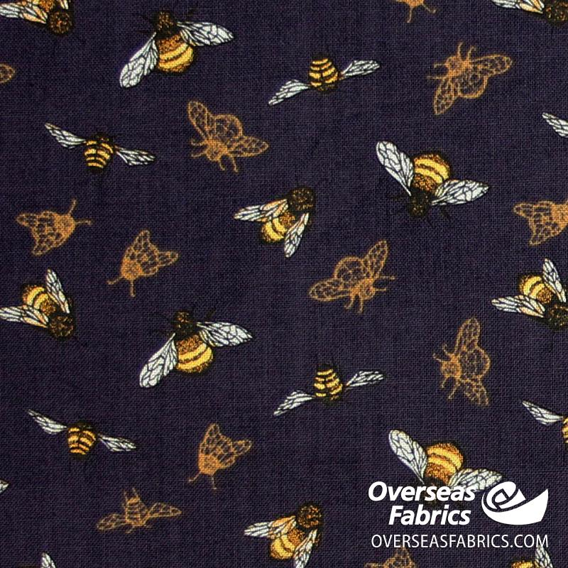 Windham Fabrics - Tell the Bees, The Bumblebee, Purple
