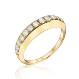 Thin Dome Ring with Top Diamonds