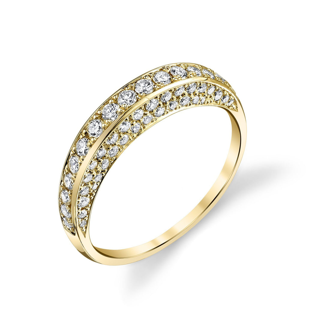 Thin Dome Ring with Diamonds