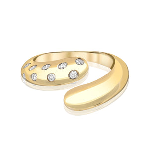 Petal Wrap Ring with Scattered Diamonds