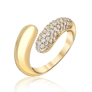 Petal Wrap Ring with Half Pave Diamonds
