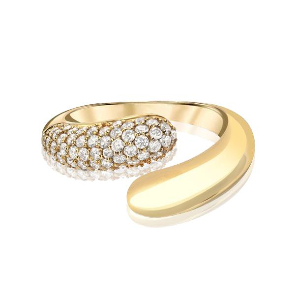 Dome Wrap Ring with Half Pave Diamonds