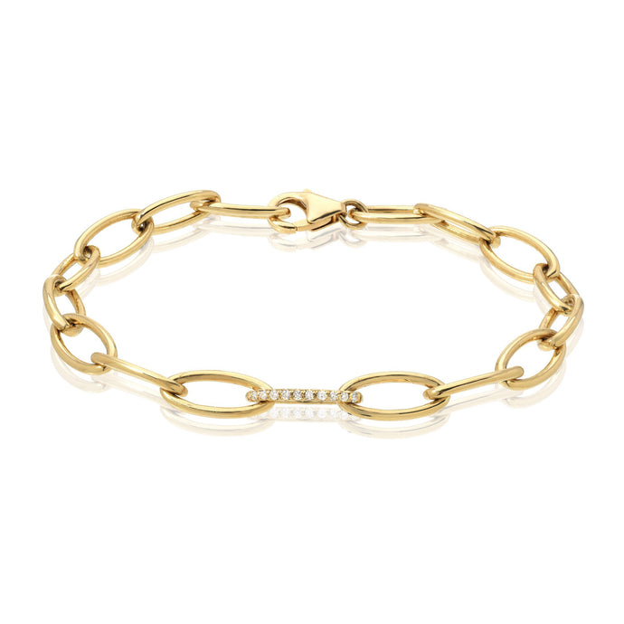 Oval Link Chain Bracelet with Pave Link