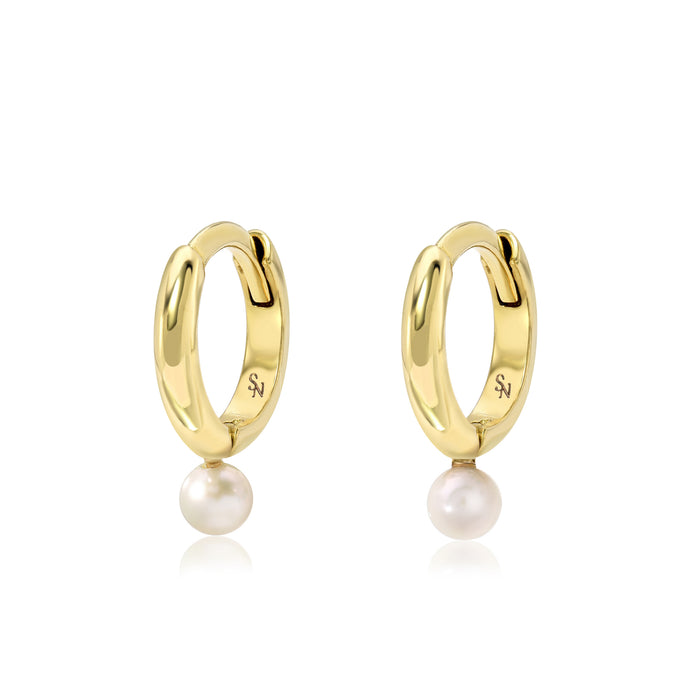 Single Pearl Hoop - 9 mm