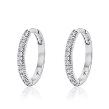 Huggie Hoop with Diamonds - 13 mm