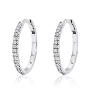 Huggie Hoop with Diamonds - 15 mm