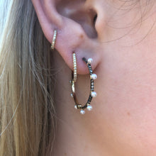 Pearl Hoops with Champagne Diamonds