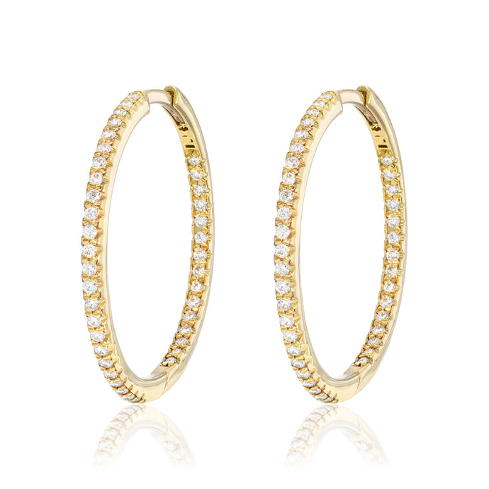 One Inch Diamond Hoops Inside and Out