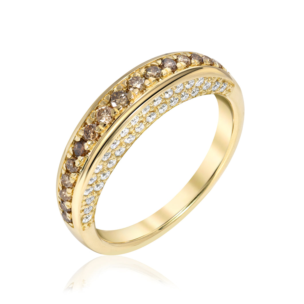 Thin Dome Ring with Champagne Diamonds