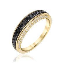 Thin Dome Ring with Black Diamonds