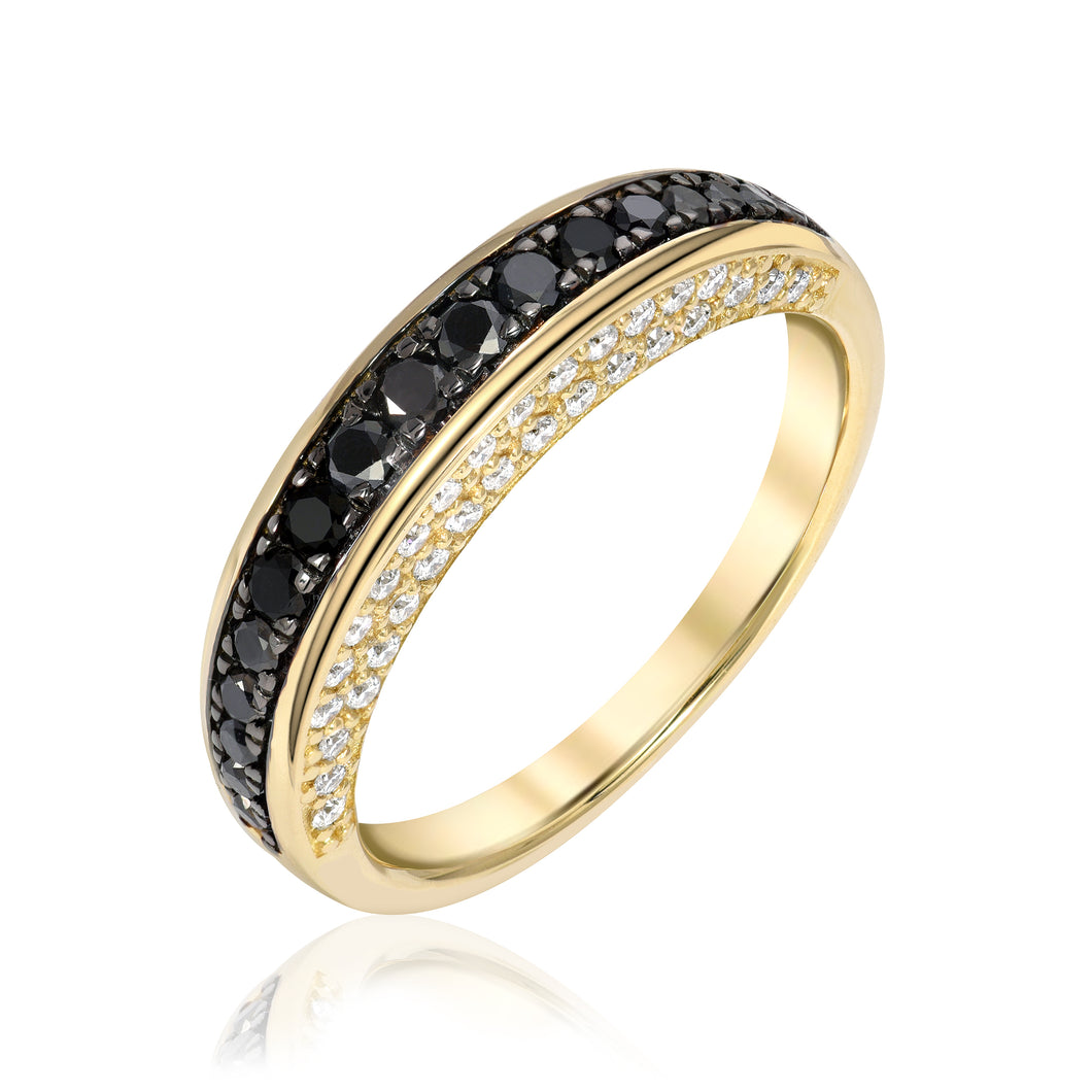 Arc Ring with Black Diamonds