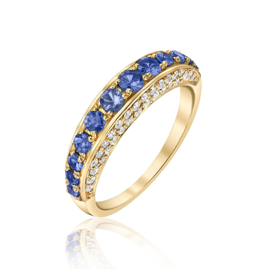 Thin Dome Ring with Blue Sapphire and Diamonds