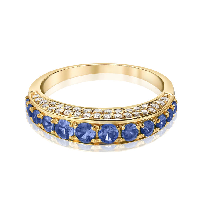 Arc Ring with Blue Sapphire and Diamonds