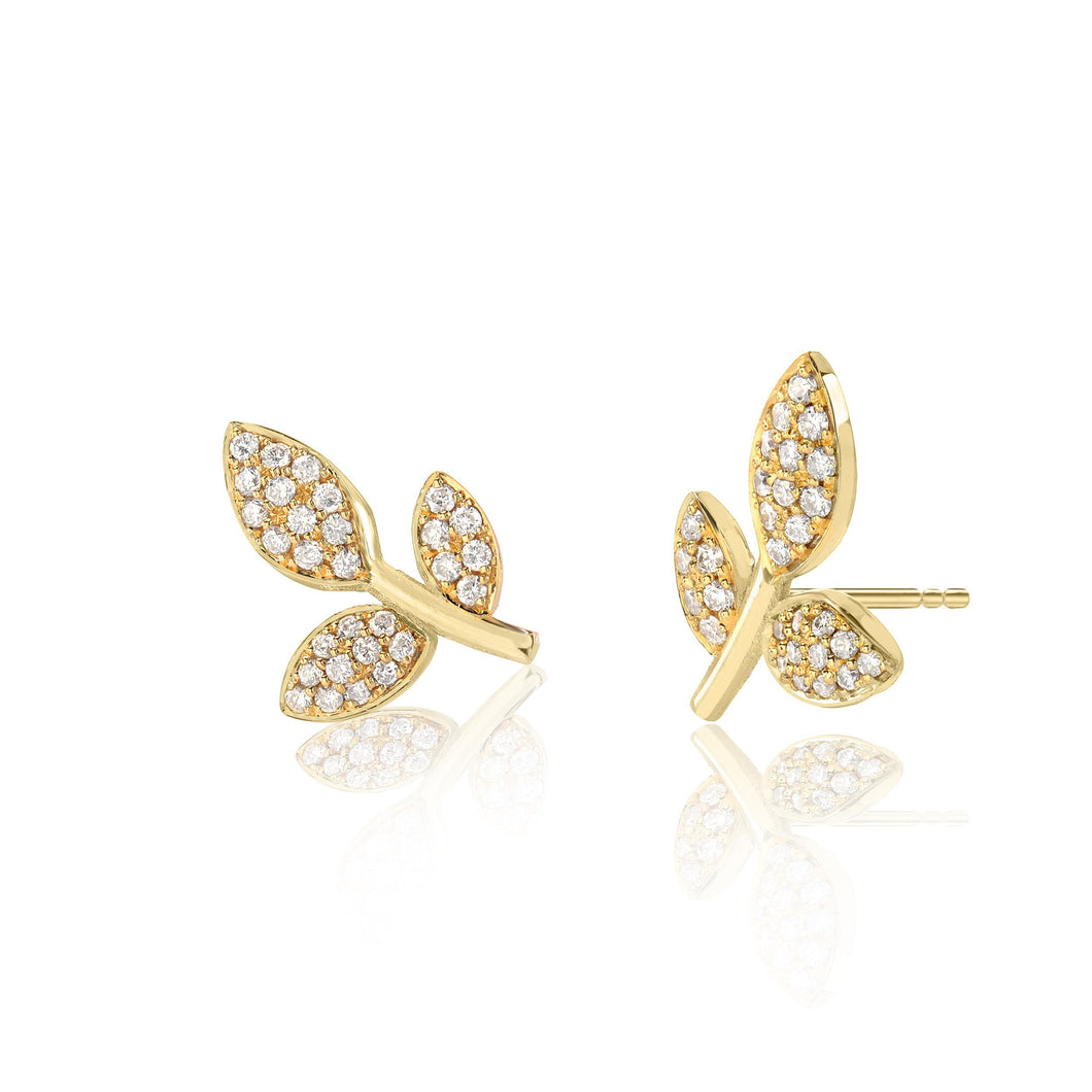 Leaf Studs with Diamonds