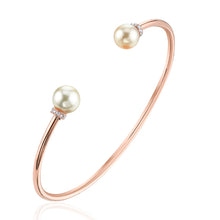 Pearl Cuff Bangle with Diamond Accents