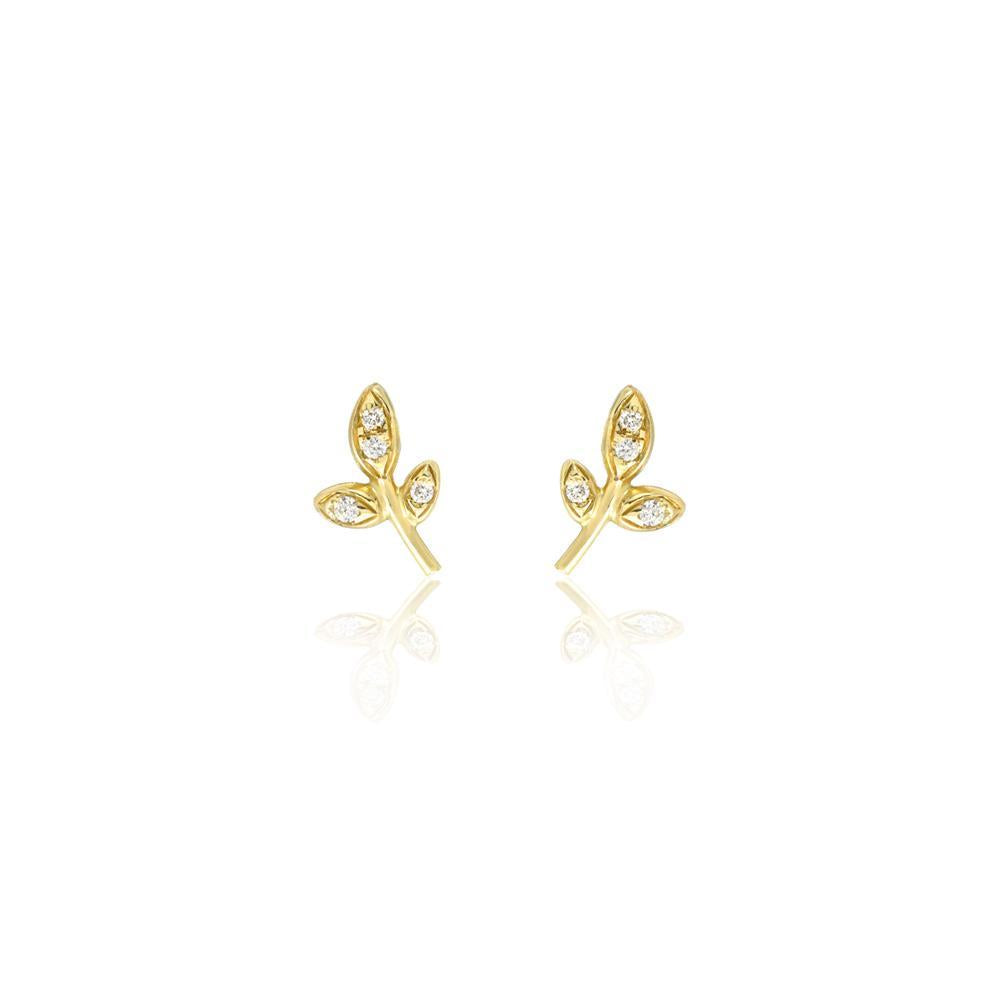 Petite Leaf Studs with Diamonds