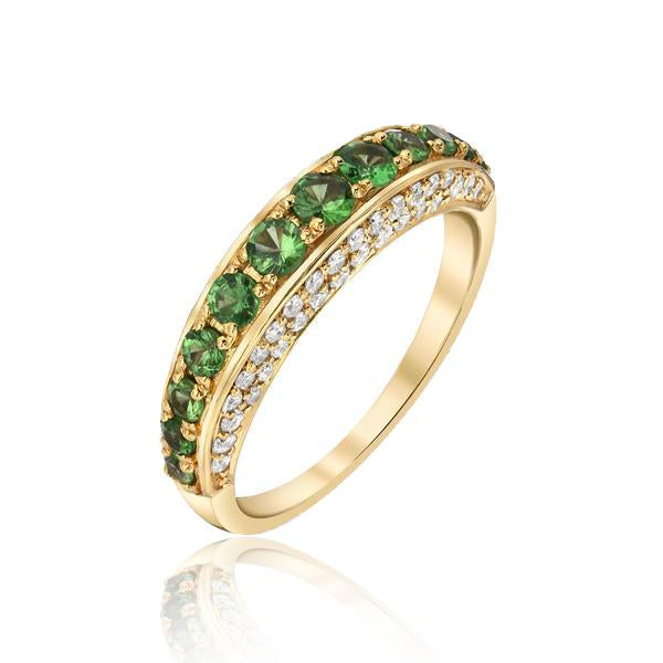 Thin Dome Ring with Tsavorite Garnet and Diamonds