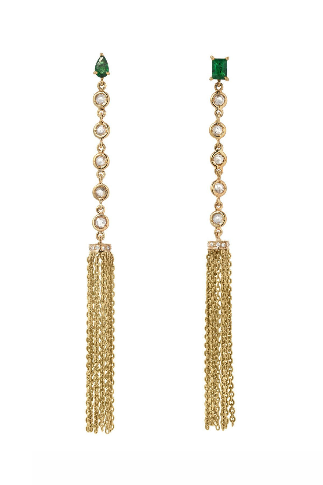 Emerald Tassel Mini Glam Earrings