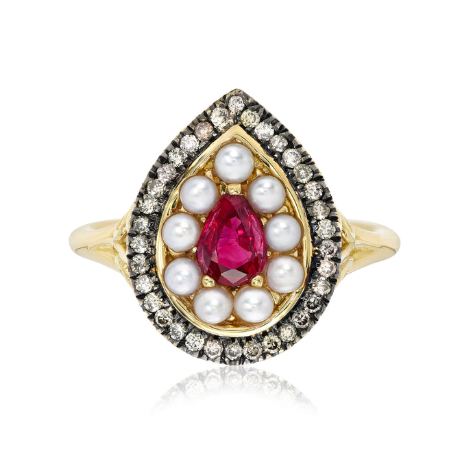 Cluster Ring with Ruby, Pearl and Champagne Diamonds