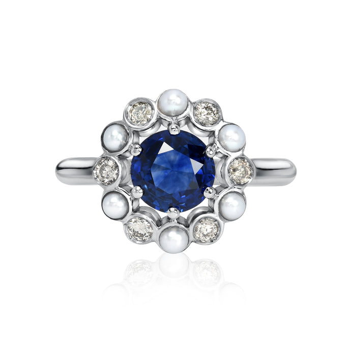 Flor de Oro with Sapphire, Champagne Diamond and Pearl