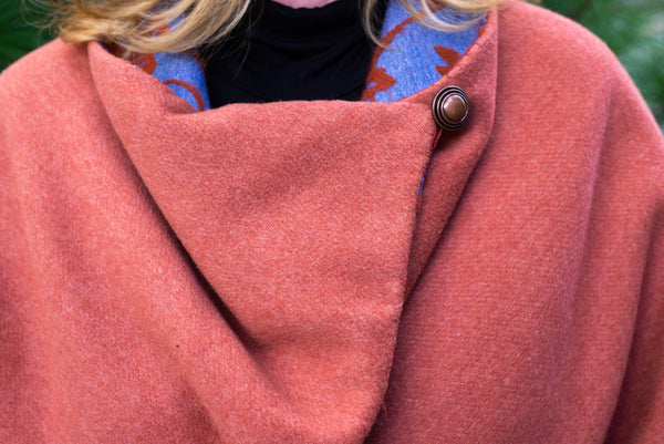 Orange and Blue Reversible Cashmere and Wool Cape