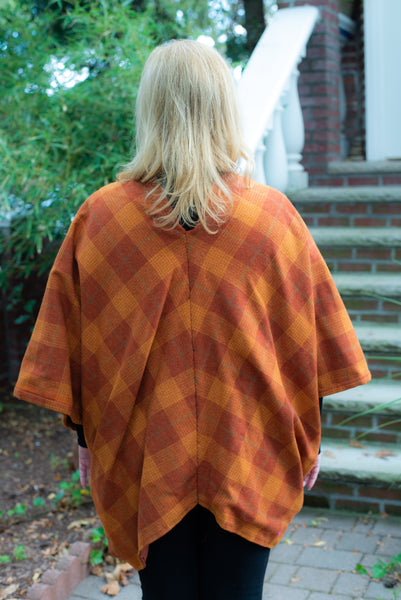 Orange Plaid Wool Long Cape