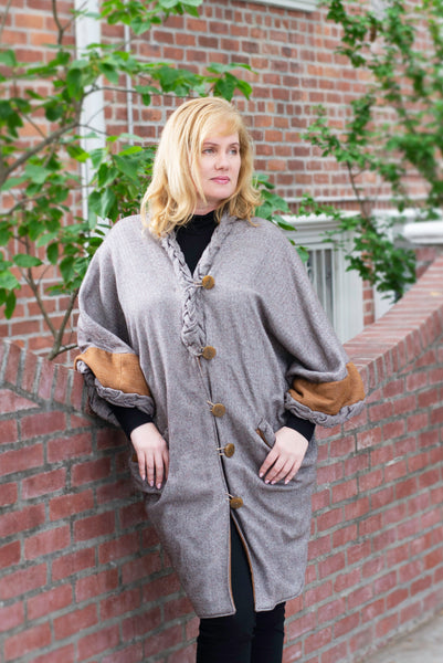 Herringbone wool long cape