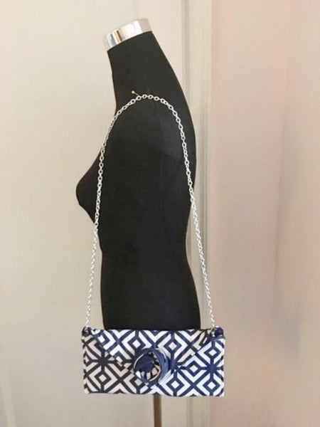 Blue and White Fabric Clutch Bag