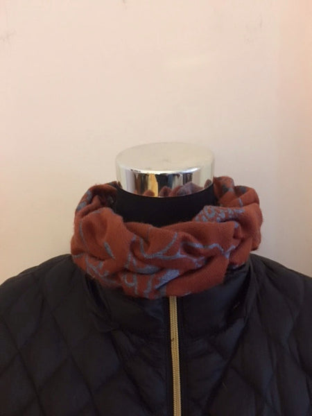 Burnt Orange and Blue Gray Neck Warmer