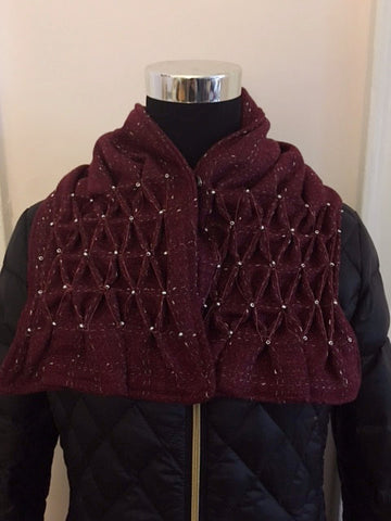Smocked cowl in cranberry plaid wool with seed beads