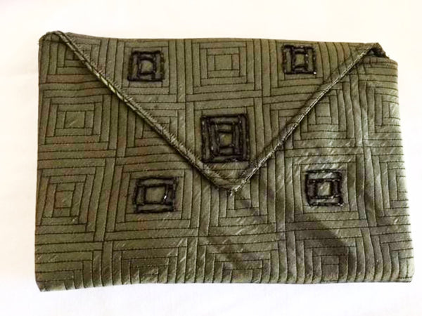 Evening bag in Olive Green Brocade